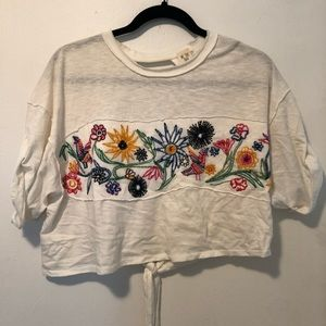 Free People Embroidered Crop Tee